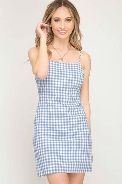 petite gingham dress