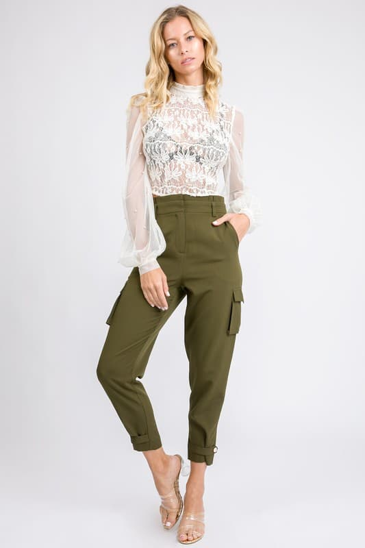 high waisted petite cargo pants olive