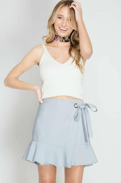 petite wrap skirt blue