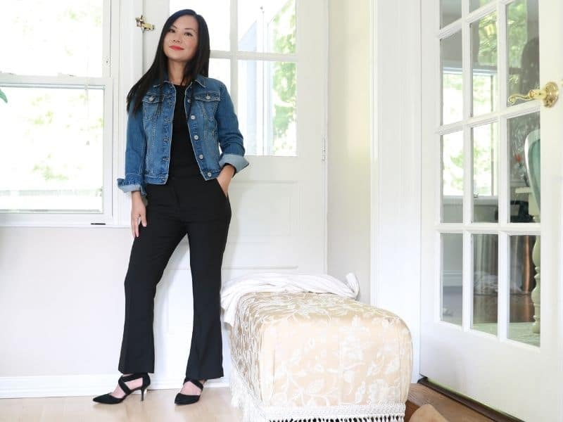 how to wear a denim jacket with pants