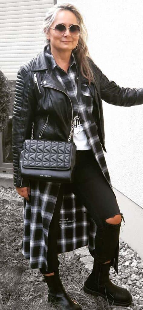 women leather jacket looks