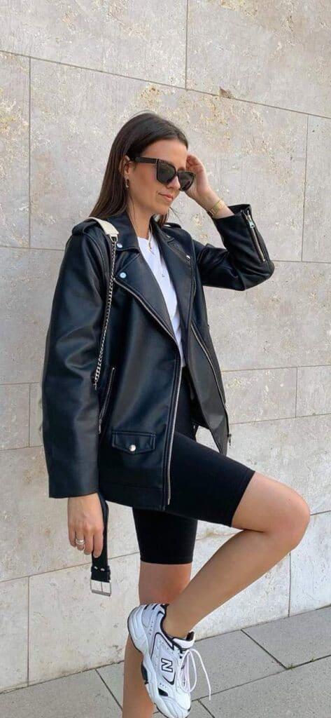 ladies leather jacket look