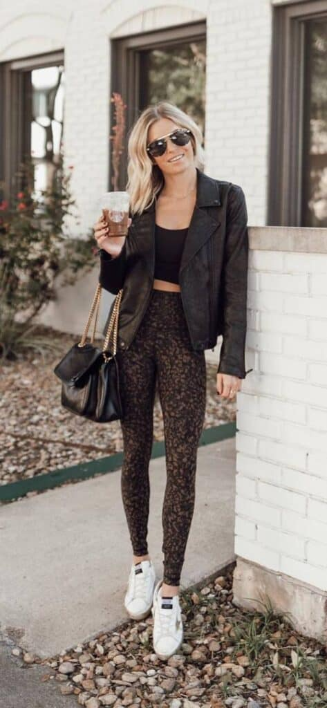 Leather jacket outfit styling