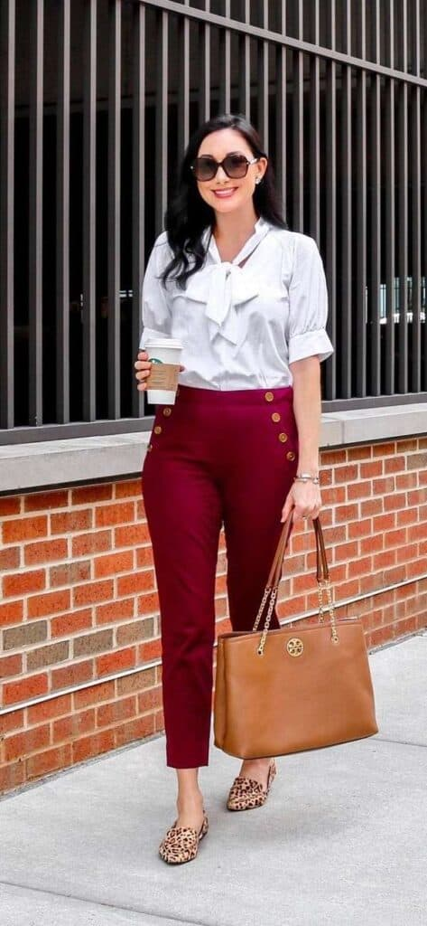 burgundy pants looks