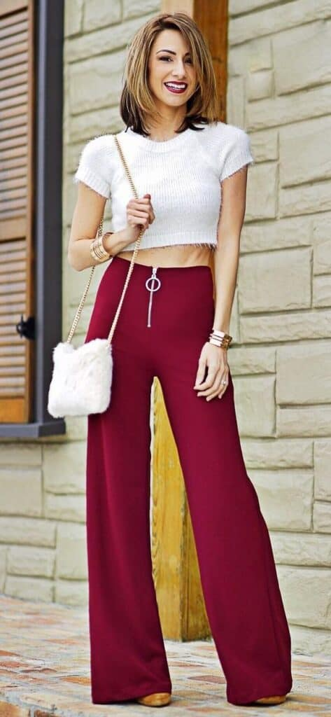 outfits with burgundy pants