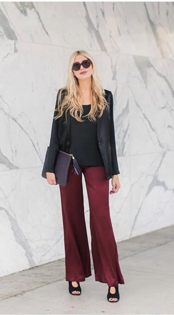 burgundy pants outfit styling