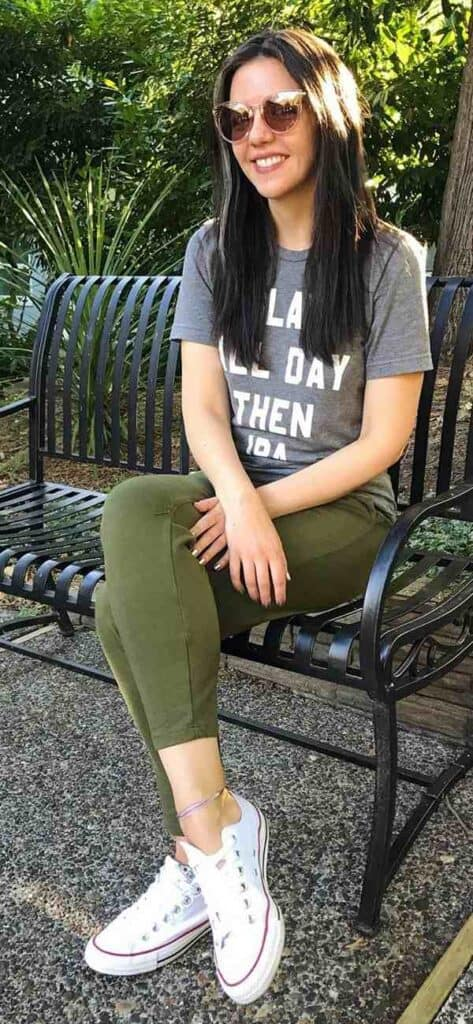styling pants in olive green color