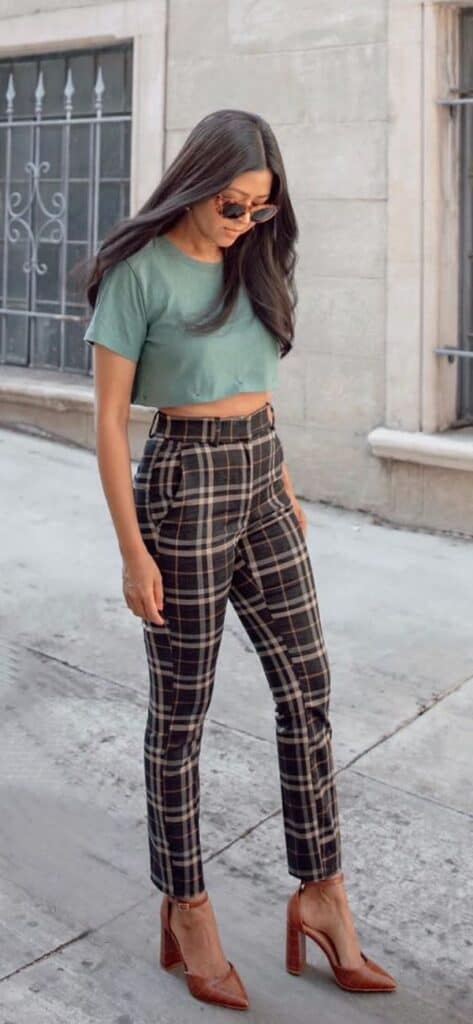 what to wear with plaid pants