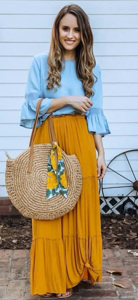 what to wear with yellow maxi skirts