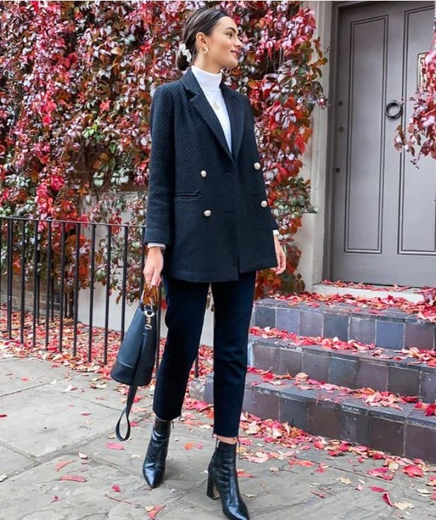 black jeans outfit with booties