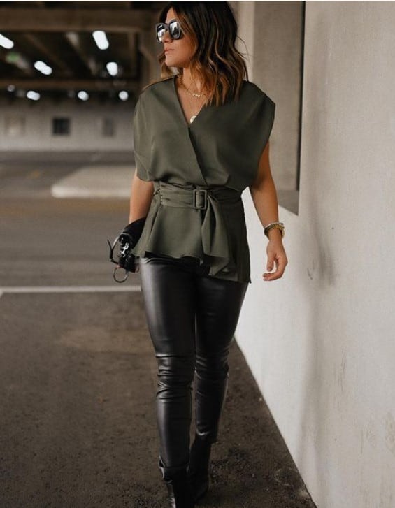 faux leather legging outfits