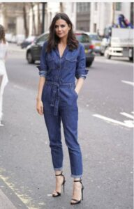 what to wear with denim jumpsuit
